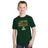 Youth Dark Green T Shirt-Game. Set. Match. Tennis Design