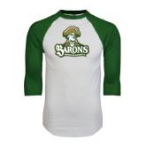 White/Dark Green Raglan Baseball T-Shirt-Barons - Franciscan University - Official Logo