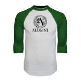 White/Dark Green Raglan Baseball T-Shirt-Alumni - Seal
