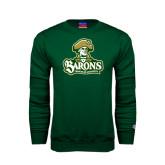 Champion Dark Green Fleece Crew-Barons - Franciscan University - Official Logo