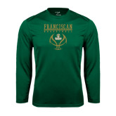 Performance Dark Green Longsleeve Shirt-Basketball Stacked Design