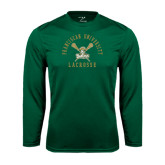 Syntrel Performance Dark Green Longsleeve Shirt-Lacrosse Arched Cross Sticks Design