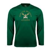 Syntrel Performance Dark Green Longsleeve Shirt-Lacrosse Arched Cross Sticks Design