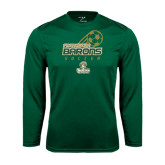 Performance Dark Green Longsleeve Shirt-Stacked Soccer Design