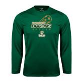 Syntrel Performance Dark Green Longsleeve Shirt-Stacked Soccer Design