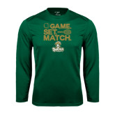 Performance Dark Green Longsleeve Shirt-Game. Set. Match. Tennis Design
