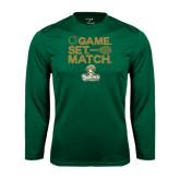 Syntrel Performance Dark Green Longsleeve Shirt-Game. Set. Match. Tennis Design