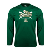 Performance Dark Green Longsleeve Shirt-Softball Crossed Bats Design