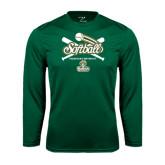 Syntrel Performance Dark Green Longsleeve Shirt-Softball Crossed Bats Design