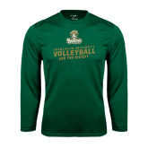 Syntrel Performance Dark Green Longsleeve Shirt-Can You Dig It - Volleyball Design