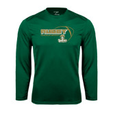 Performance Dark Green Longsleeve Shirt-Rugby Ball Design