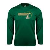Syntrel Performance Dark Green Longsleeve Shirt-Rugby Ball Design