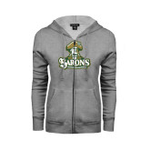ENZA Ladies Grey Fleece Full Zip Hoodie-Barons - Franciscan University - Official Logo