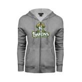 ENZA Ladies Grey Fleece Full Zip Hoodie-Barons - Franciscan University - Official Logo