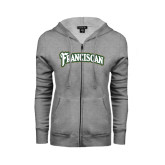 ENZA Ladies Grey Fleece Full Zip Hoodie-Arched Franciscan