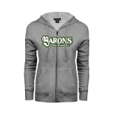 ENZA Ladies Grey Fleece Full Zip Hoodie-Barons - Franciscan University