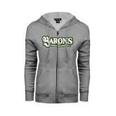 ENZA Ladies Grey Fleece Full Zip Hoodie-Barons - Franciscan University