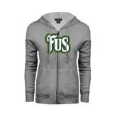 ENZA Ladies Grey Fleece Full Zip Hoodie-FUS