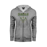 ENZA Ladies Grey Fleece Full Zip Hoodie-Basketball Stacked Design