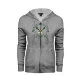 ENZA Ladies Grey Fleece Full Zip Hoodie-Lacrosse Arched Cross Sticks Design