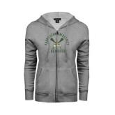 ENZA Ladies Grey Fleece Full Zip Hoodie-Lacrosse Arched Cross Sticks Design