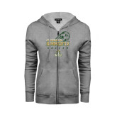 ENZA Ladies Grey Fleece Full Zip Hoodie-Stacked Soccer Design