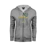 ENZA Ladies Grey Fleece Full Zip Hoodie-Stacked Soccer Design