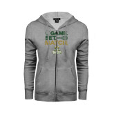ENZA Ladies Grey Fleece Full Zip Hoodie-Game. Set. Match. Tennis Design