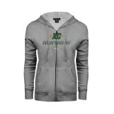 ENZA Ladies Grey Fleece Full Zip Hoodie-Cross Country XC Design