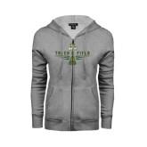 ENZA Ladies Grey Fleece Full Zip Hoodie-Track and Field Shoe Design