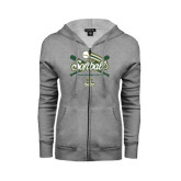 ENZA Ladies Grey Fleece Full Zip Hoodie-Softball Crossed Bats Design