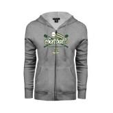 ENZA Ladies Grey Fleece Full Zip Hoodie-Softball Crossed Bats Design