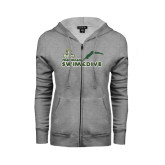 ENZA Ladies Grey Fleece Full Zip Hoodie-Swim and Dive Diver Design