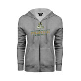ENZA Ladies Grey Fleece Full Zip Hoodie-Can You Dig It - Volleyball Design
