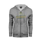ENZA Ladies Grey Fleece Full Zip Hoodie-Can You Dig It - Volleyball Design