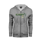 ENZA Ladies Grey Fleece Full Zip Hoodie-Rugby Ball Design