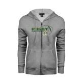 ENZA Ladies Grey Fleece Full Zip Hoodie-Rugby Ball Design
