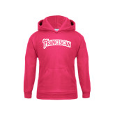 Youth Raspberry Fleece Hoodie-Arched Franciscan
