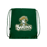 Nylon Dark Green Drawstring Backpack-Barons - Franciscan University - Official Logo