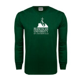 Dark Green Long Sleeve T Shirt-Franciscan University Mark
