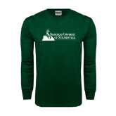 Dark Green Long Sleeve T Shirt-Franciscan University Mark - Flat