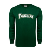 Dark Green Long Sleeve T Shirt-Arched Franciscan Distressed