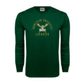 Dark Green Long Sleeve T Shirt-Lacrosse Arched Cross Sticks Design
