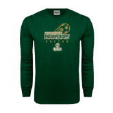 Dark Green Long Sleeve T Shirt-Stacked Soccer Design