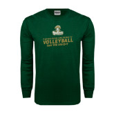 Dark Green Long Sleeve T Shirt-Can You Dig It - Volleyball Design