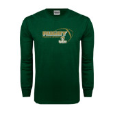 Dark Green Long Sleeve T Shirt-Rugby Ball Design