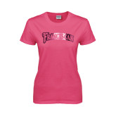 Ladies Fuchsia T Shirt-Arched Franciscan Foil
