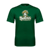 Performance Dark Green Tee-Barons - Franciscan University - Official Logo
