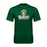 Performance Dark Green Tee-Barons - Franciscan University - Official Logo