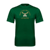 Performance Dark Green Tee-Lacrosse Arched Cross Sticks Design